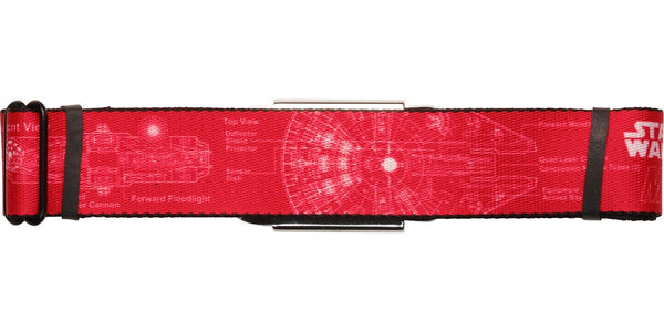 Star Wars Falcon Blueprints Red Seatbelt Belt