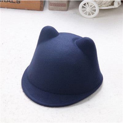 Cute Kitty Cat Ears Wool Derby Cap