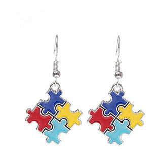 Autism 4-Color Puzzle Piece Earrings - Charmora.com