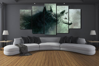 Yin/Yang Wolves - 5-Piece Canvas Art Set - Charmora.com