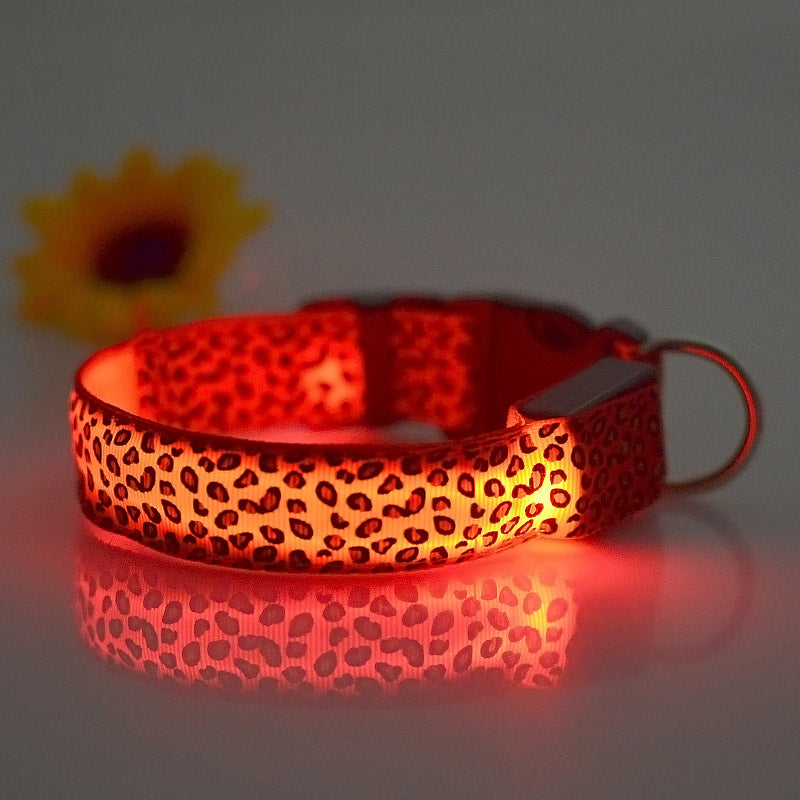 Fashion Leopard LED Dog Collar - Charmora.com