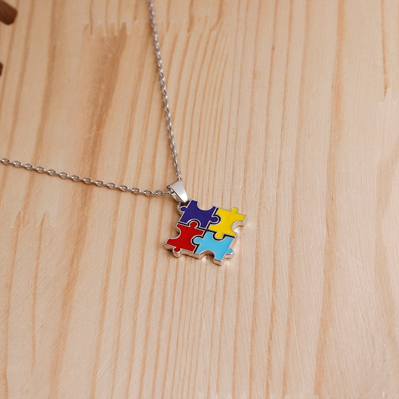 Necklace with 4-Color Puzzle Piece Autism Charm - Charmora.com