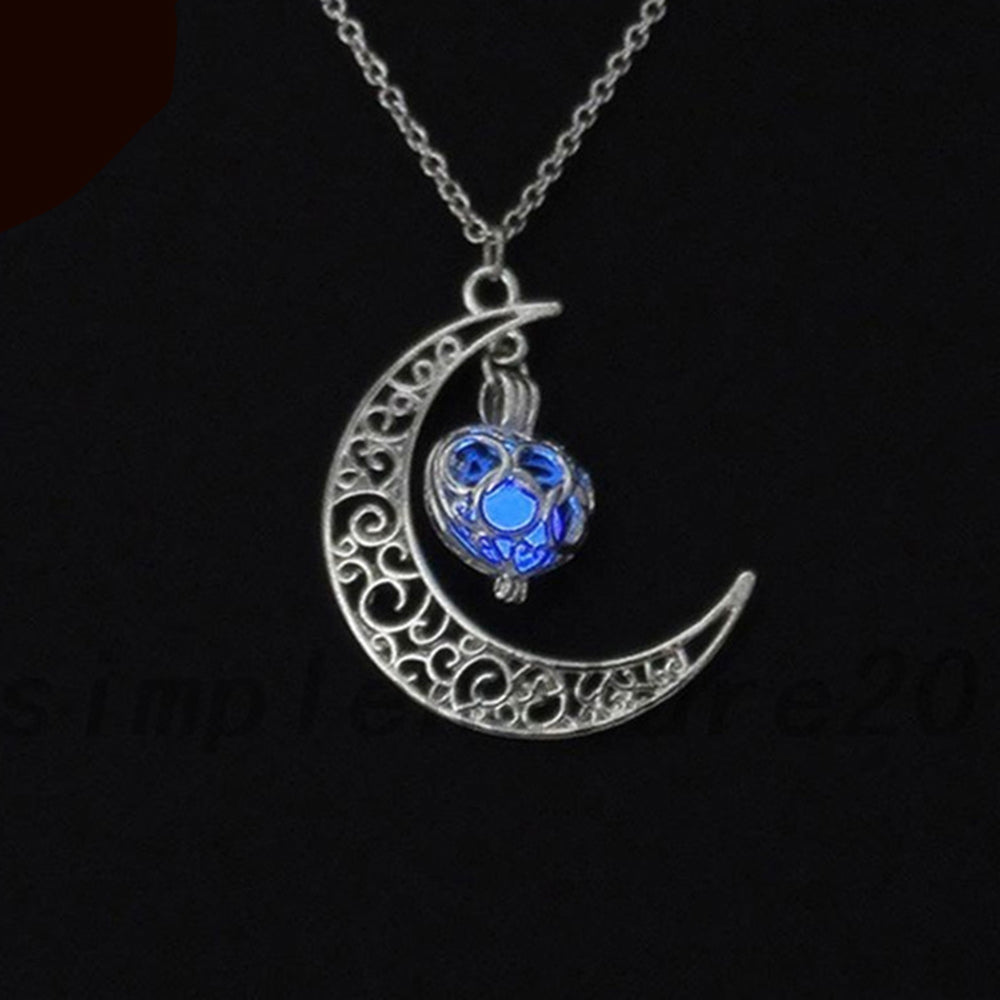 neckalce loket shaped super the shop choker silver dark moon with vintage plated glow products necklace in jewelry crescent pendant stop