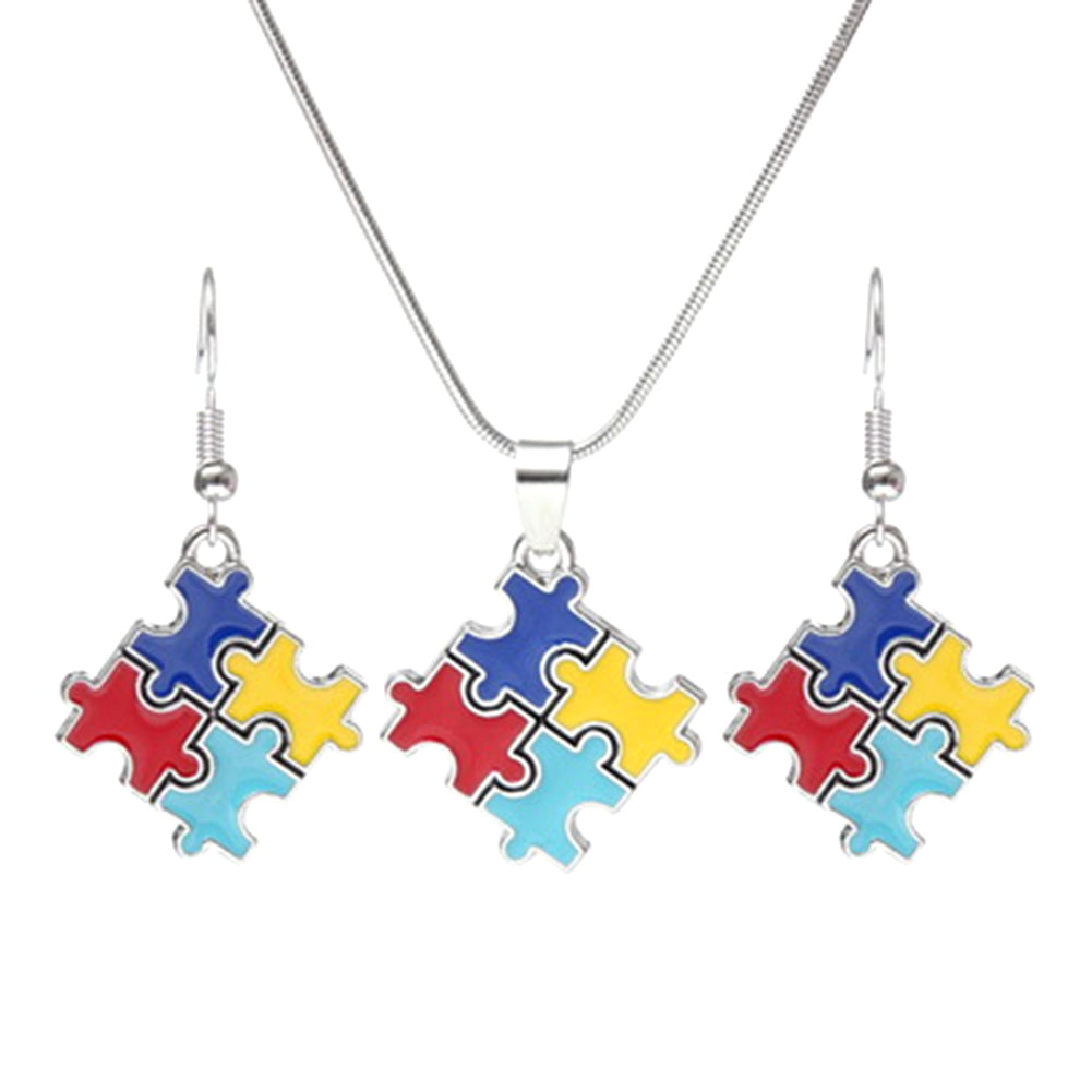 Autism 4-Color Puzzle Piece Necklace and Earrings Set - Charmora.com