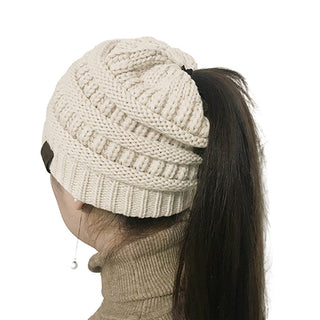 Messy Bun Ponytail Beanie - 25 Colors - Charmora.com
