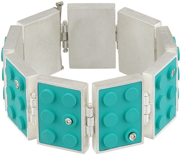 Rectangle LEGO Hinge Bracelet with Diamonds