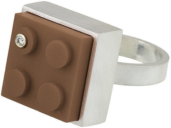 Unique brown 2 X 2 LEGO brick in hand fabricated sterling silver modern ring