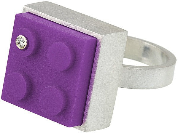 Unique purple 2 X 2 LEGO brick in hand fabricated sterling silver modern ring