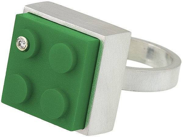 Unique green 2 X 2 LEGO brick in hand fabricated sterling silver modern ring