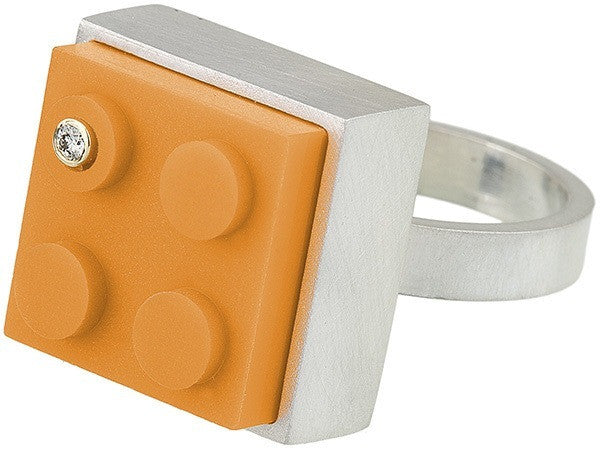 Unique and fun 2 X 2 orange LEGO brick in hand fabricated sterling silver modern ring