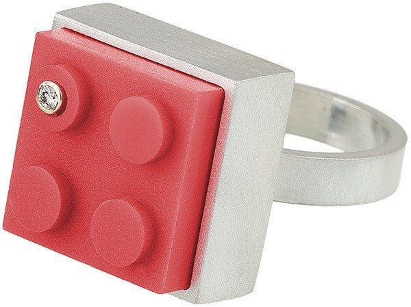 Fun sterling silver ring with a diamond set into a red 2 X 2 LEGO brick and