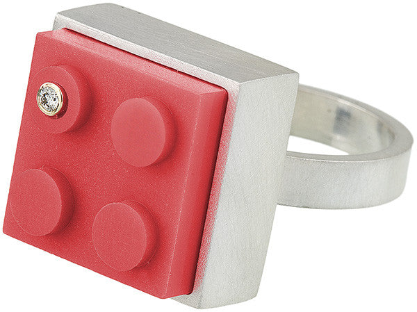 High profile square LEGO® and diamond ring