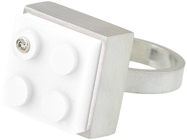 Unique and fun white 2 X 2 LEGO brick in hand fabricated sterling silver modern ring