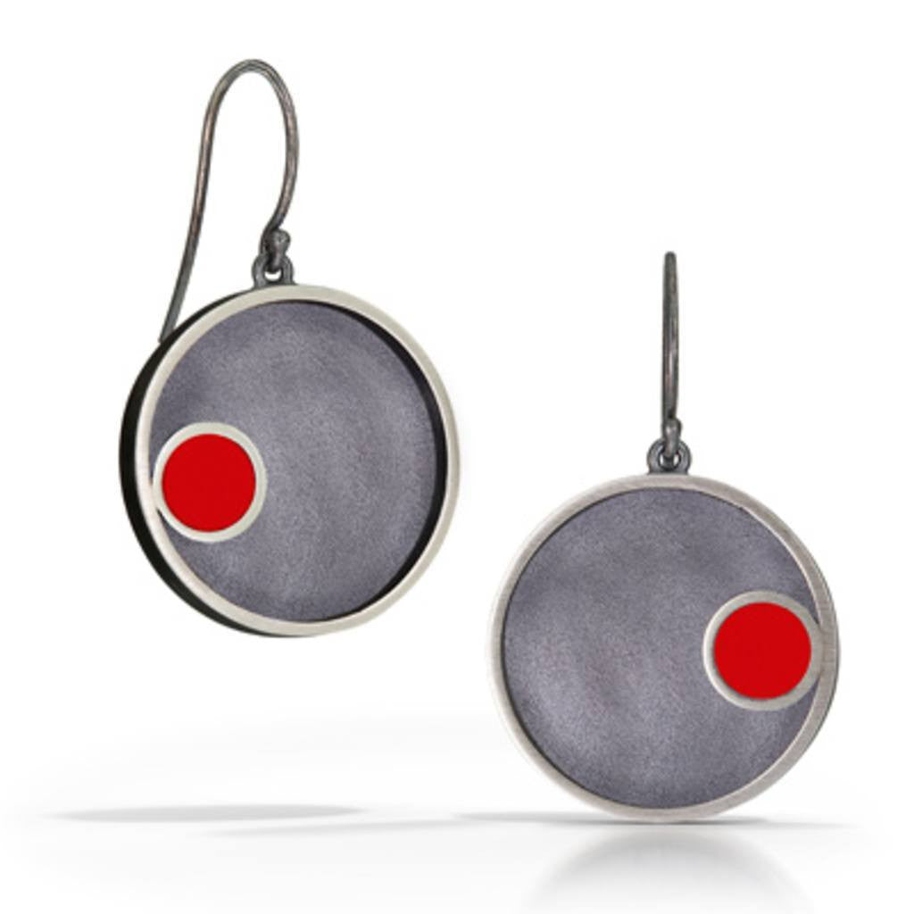 Hand fabricated sterling silver round modern earrings with small round LEGO piece with patina finish