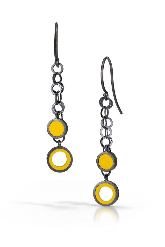 Chain link earrings made with sterling silver and yellow recycled LEGO