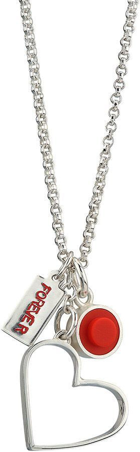 Sterling silver hand fabricated heart pendant with 1 X 1 LEGO dot charm and forever tag charm