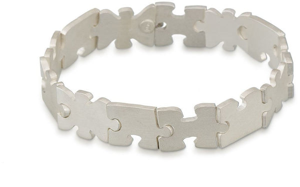 Sterling silver autism awareness puzzle piece bracelet