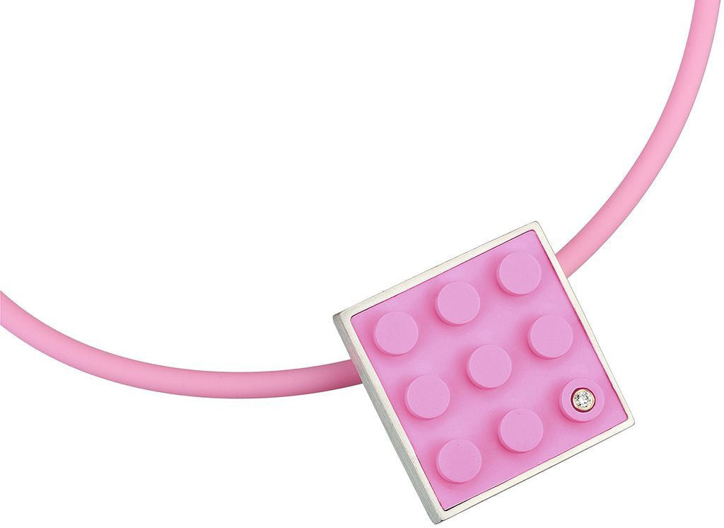 2 X 3 pink recycled LEGO brick hand made into a  modern, simplistic pendant with a diamond