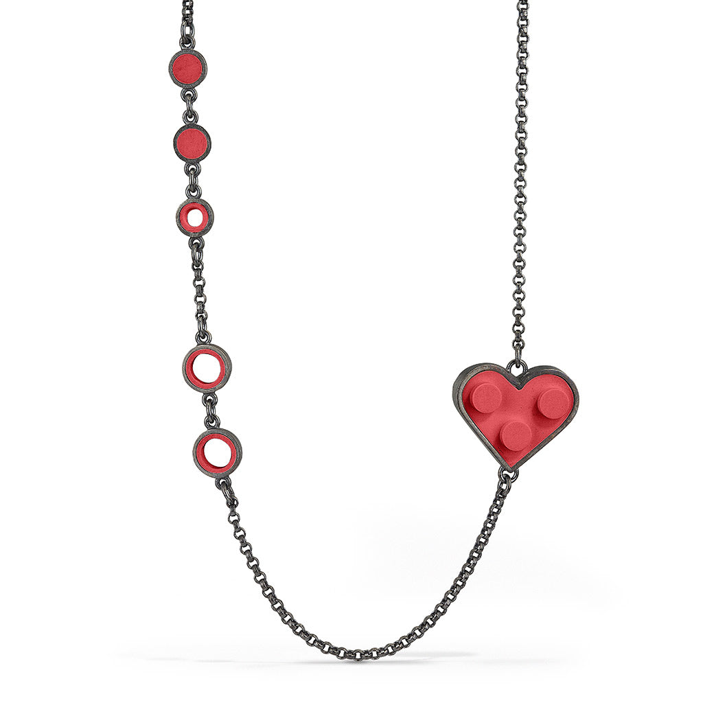 Red LEGO heart modern, contemporary necklace with recycled LEGO pieces on a sterling silver chain
