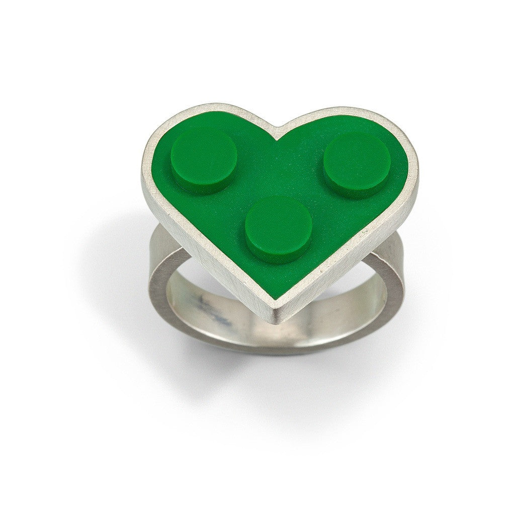 Green LEGO heart shape ring handmade with sterling silver