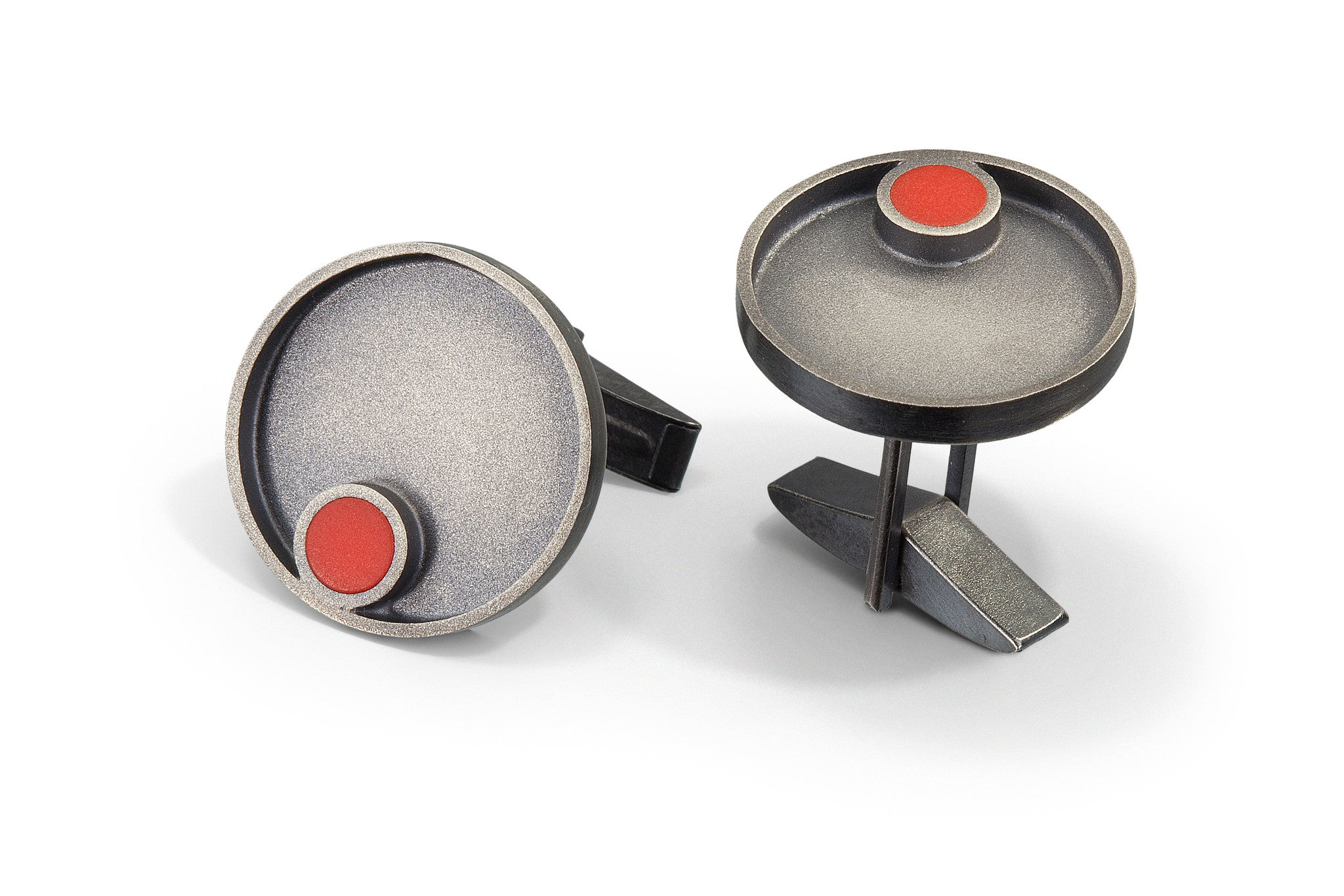 Hand fabricated sterling silver round modern cuff links with small round red LEGO piece with patina finish