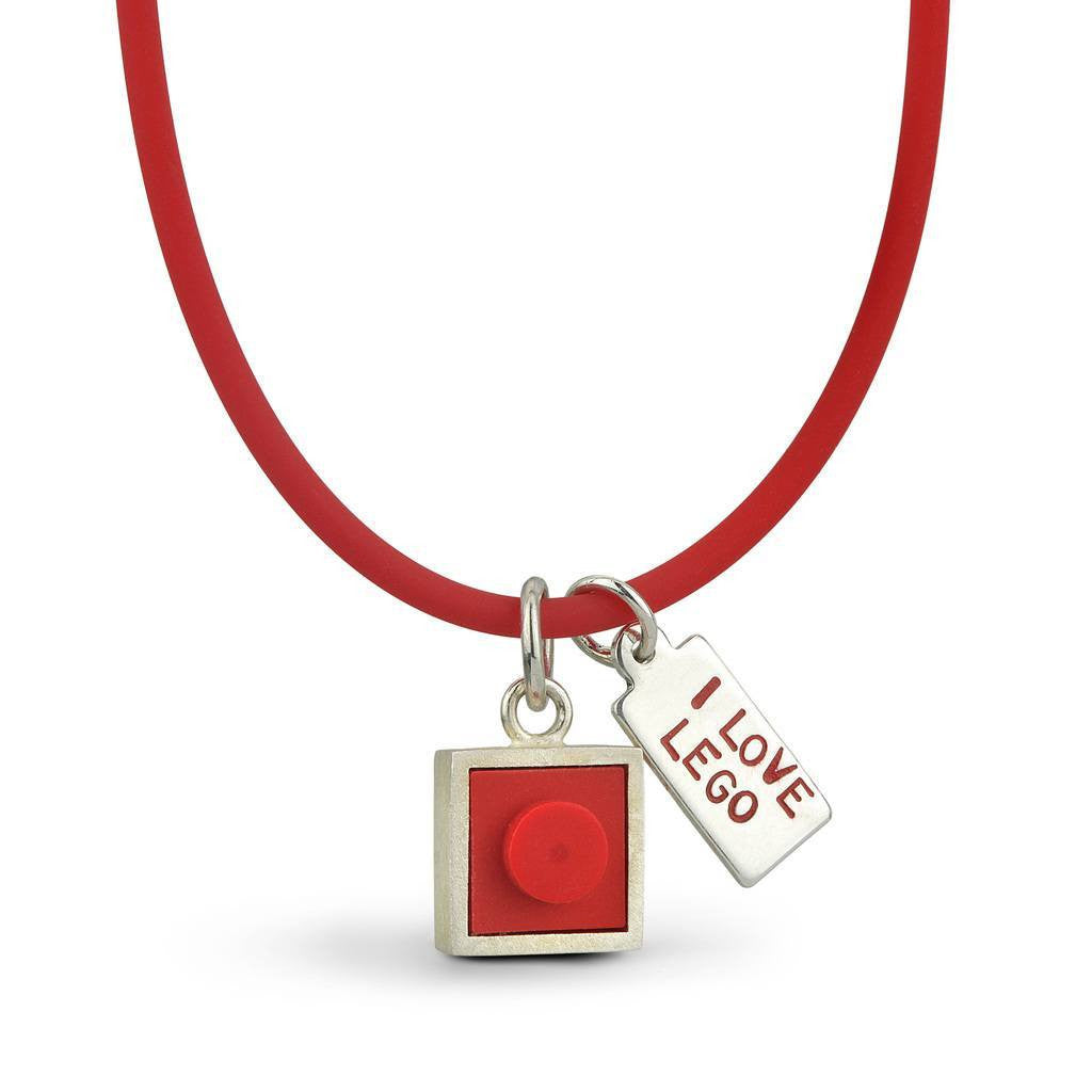 1 X 1 red LEGO brick charm with I love LEGO tag on a red rubber necklace
