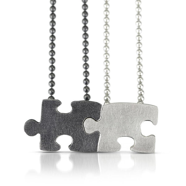 Autism Awareness hand fabricated sterling silver puzzle piece pendants that fit together but worn separately