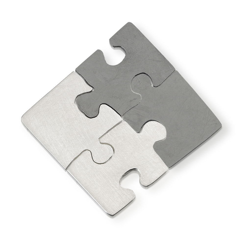 Autism Awareness hand cut puzzle pieces that fit together but worn as 4 separate pins