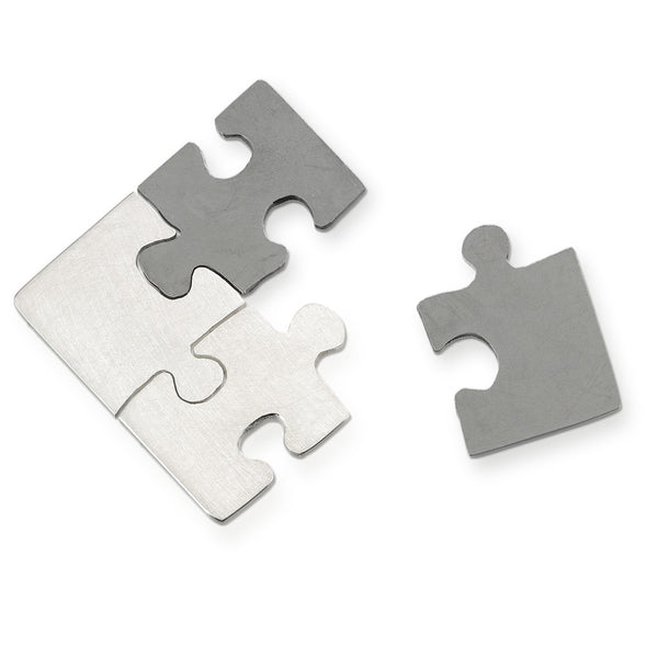 Autism Awareness hand cut sterling silver puzzle pieces that fit together but worn as 4 separate pins.