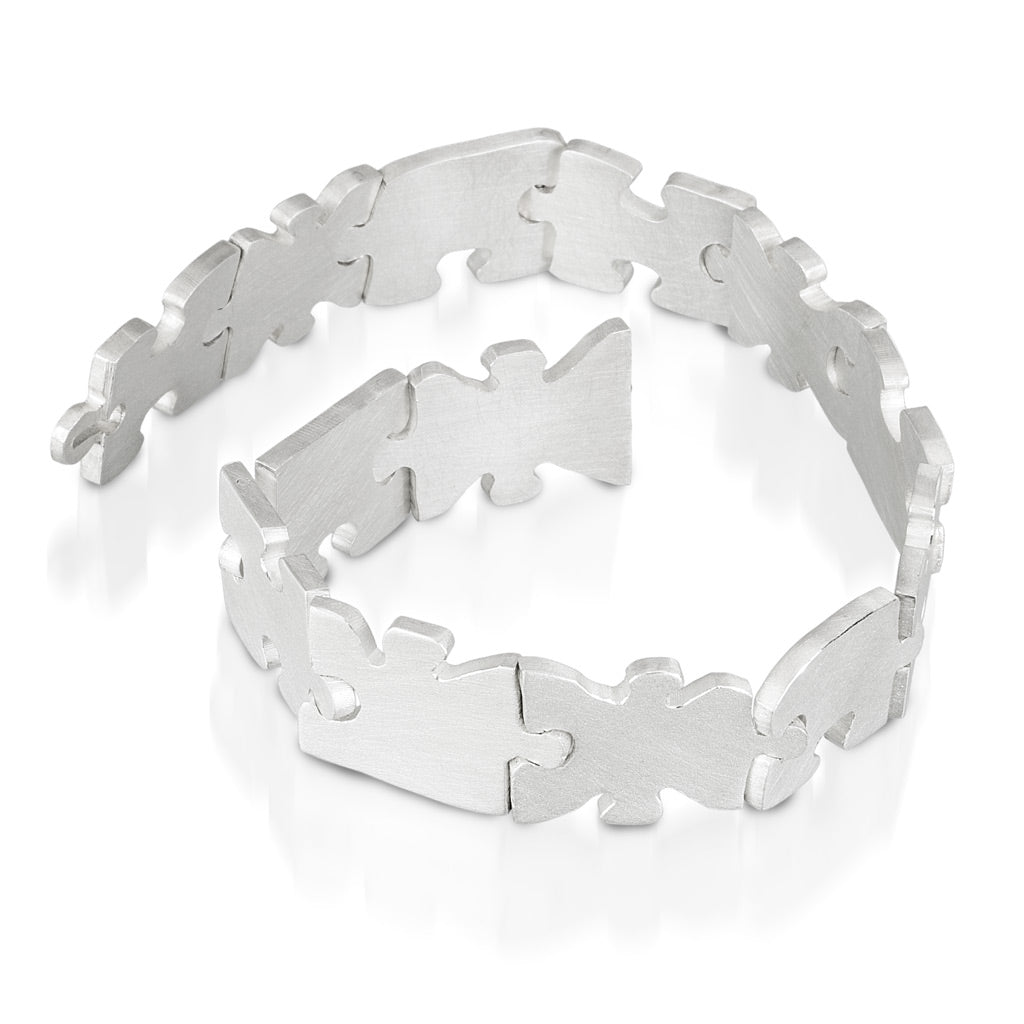 Autism Awareness sterling silver puzzle piece bracelet