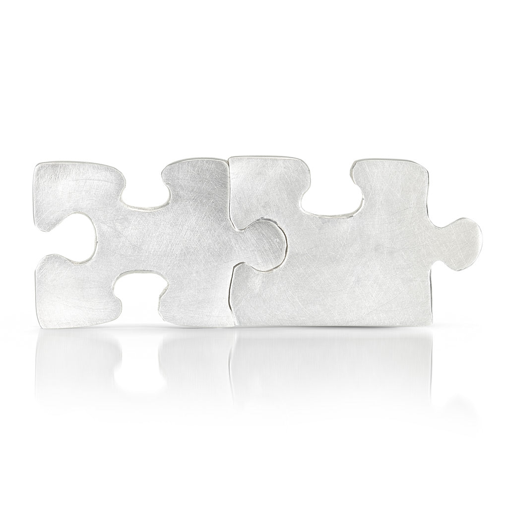 Autism Awareness puzzle piece cuff links that fit together