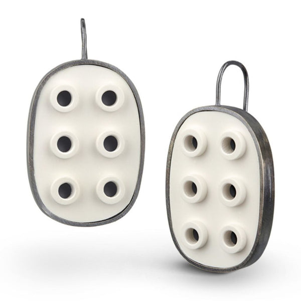 Oval LEGO® negative space earrings