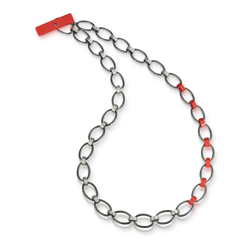 Oxidized sterling silver modern necklace with red recycled LEGO bricks as links