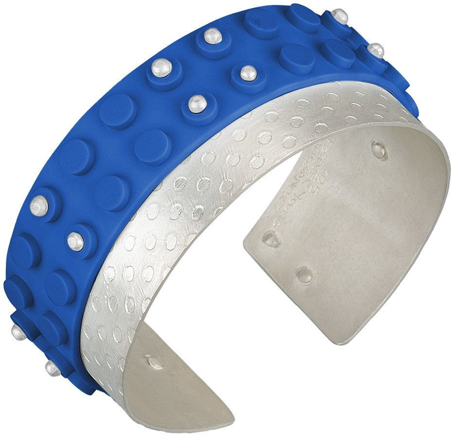 Blue LEGO base plate wrapped around a hand made sterling silver cuff bracelet