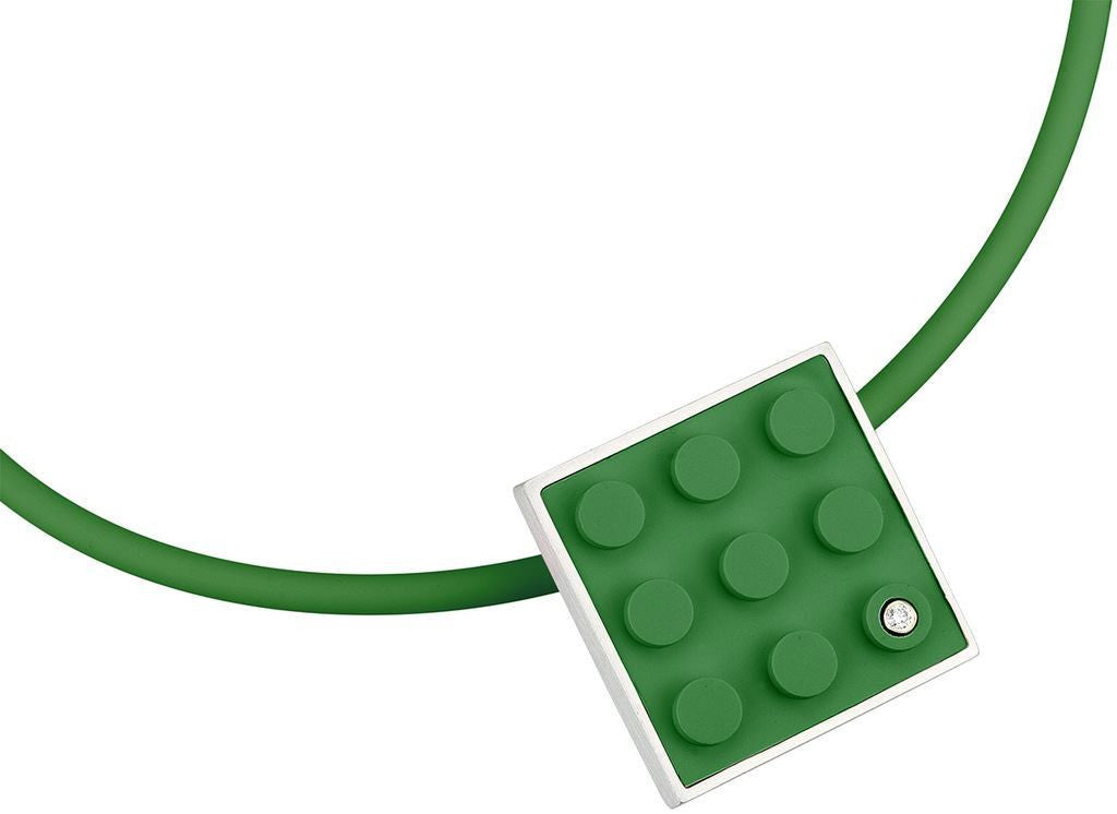 Contemporary pendant hand made with a Green LEGO brick and a diamond for any AFOL