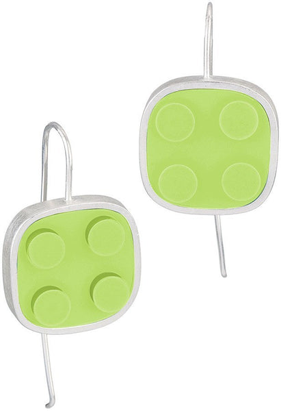 light green 2 X 2 LEGO dangle earring