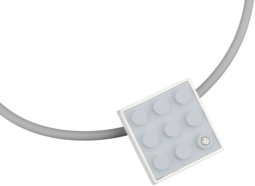 2 X 3 light grey recycled LEGO brick set into a pendant to create art jewelry for any AFOL