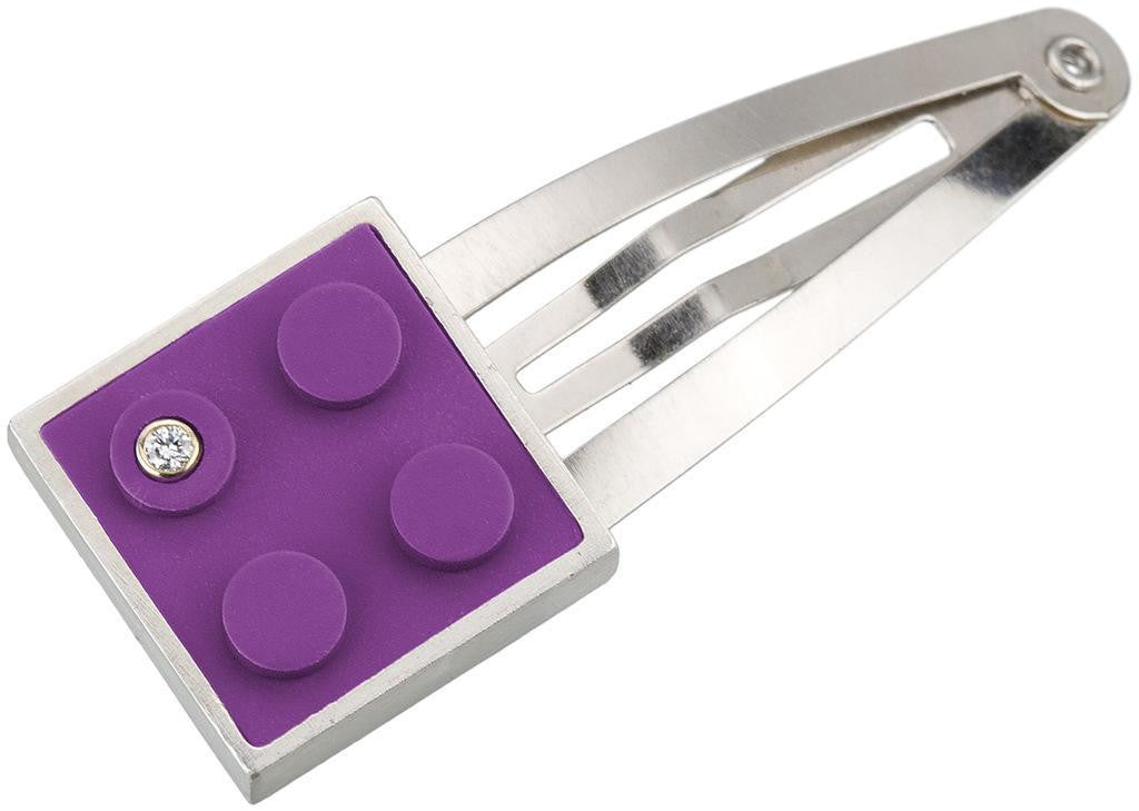 Modern, contemporary hair pin with 2 X 2 purple LEGO brick with diamond