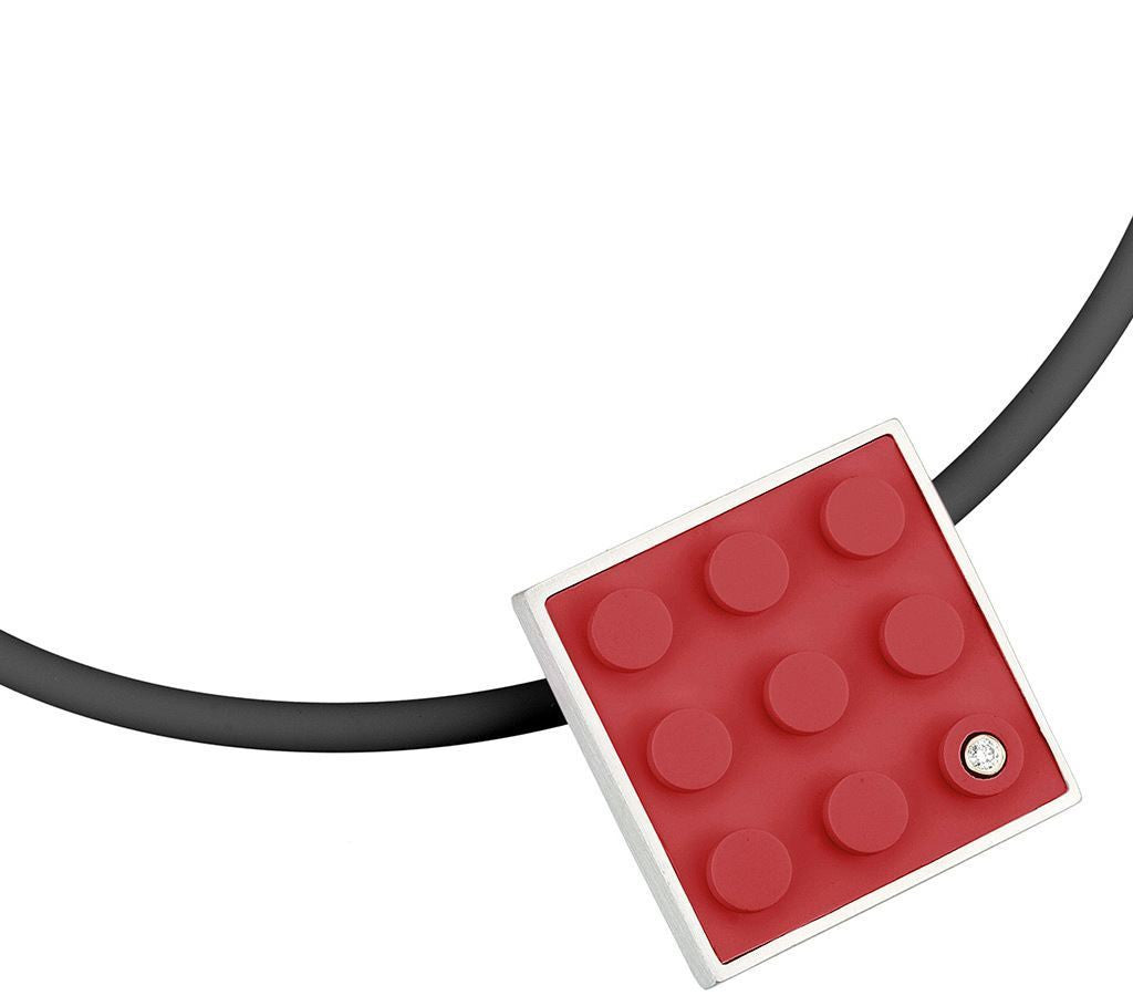 Red 2 X 2 LEGO brick modern pendant with diamond made with sterling silver on a black rubber cord