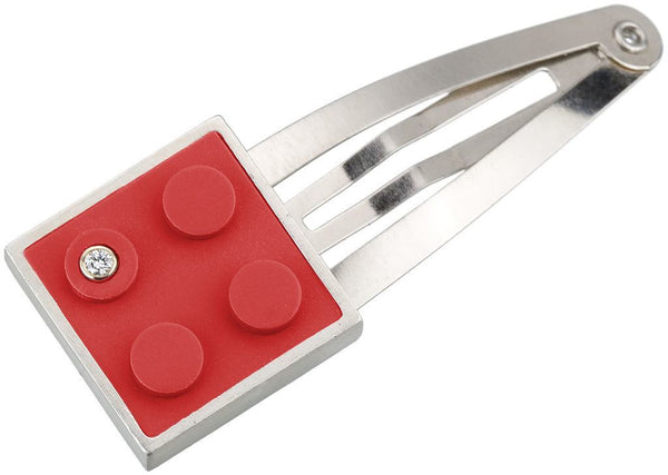 Recycled 2 X 2 red LEGO brick set into hand fabricated sterling silver modern, contemporary hair clip with a diamond