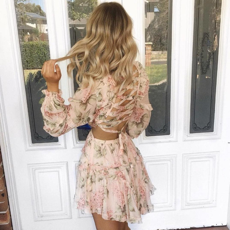 2018 Nostalgia boho Summer V-neck Sexy Backless Long Sleeve Floral - Nostalgiastyles Clothing Store Co.