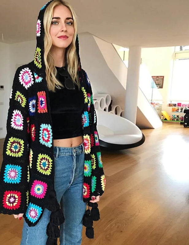 Nostalgia Boho women clothing long sleeve hooded multicolor floral cardigan