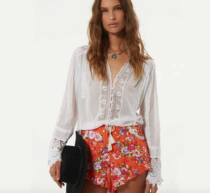 Nostagia Boho  blouse white cotton lace floral embroidery women's shirt loose