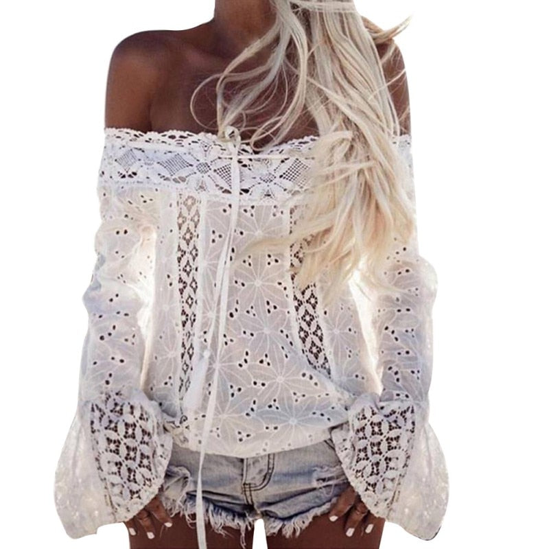 Nostalgia Boho Hollow Out White Lace Blouse Shirt  Off Shoulder Top