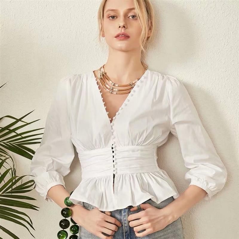 Nostalgia Boho Women V-neck Long Sleeve Womens Tops and Blouses Spring Slim