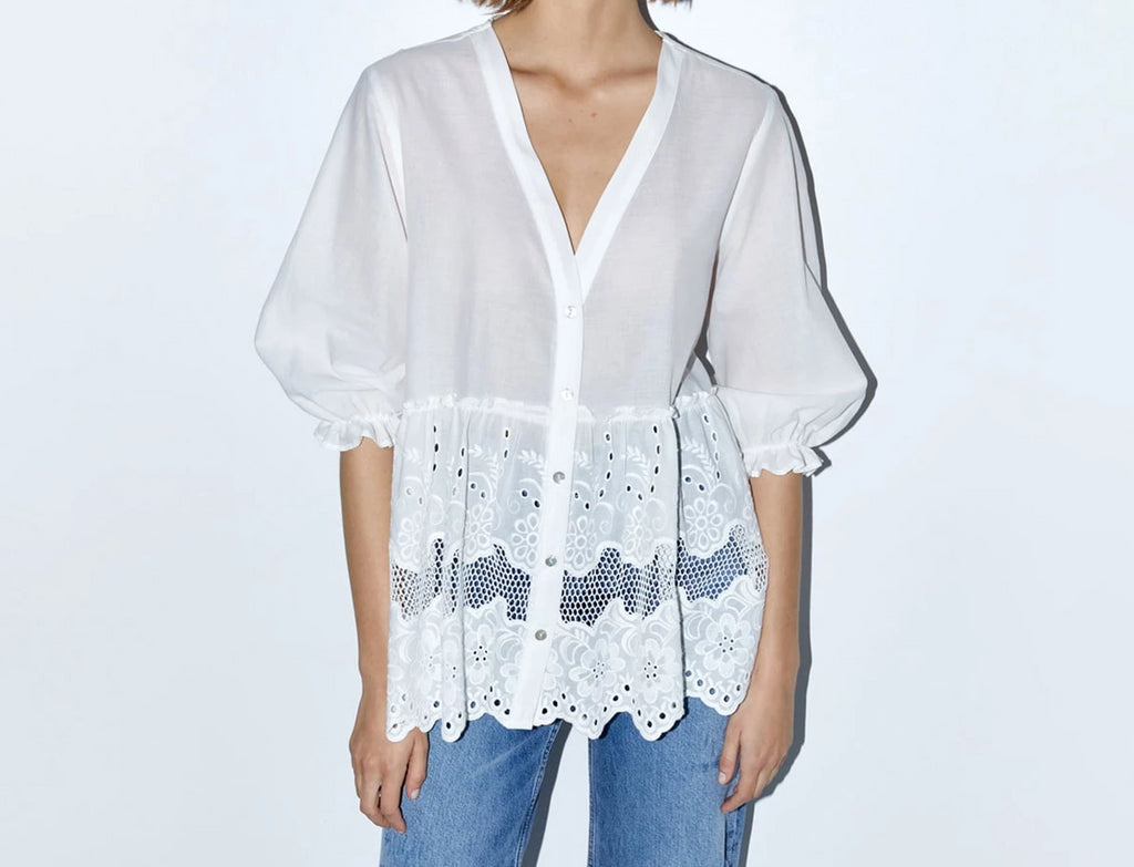 Nostalgia Styles Boho Shirt Cutwork Embroidery Top V-Neck 3/4 Sleeve