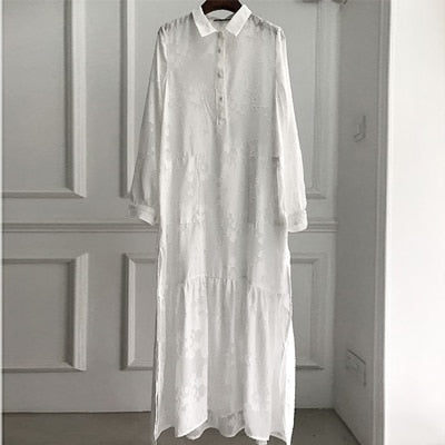 Nostalgia  Floral Embroidered Chiffon  Loose Long Sleeve White Dress Sexy