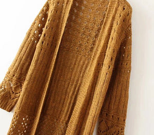 Nostalgia Boho Hippie Tassels Solid Knitted Cardigans Sweater