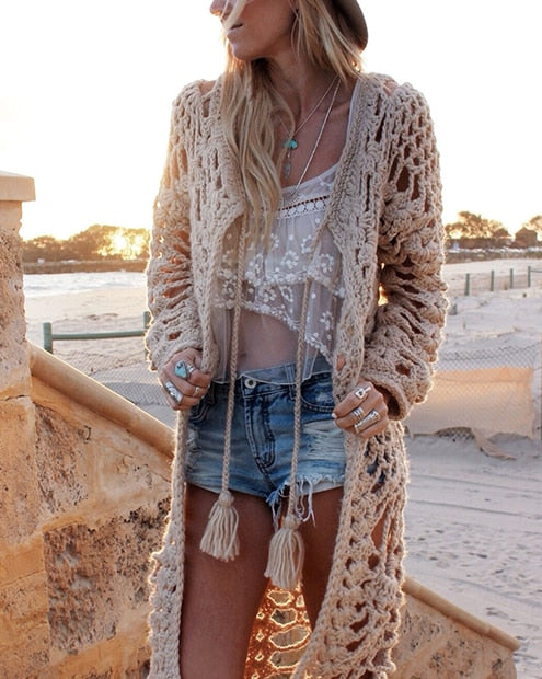 Nostalgia Hippie  Boho Hand knitted Long Cardigan Sweater  wool loose Hollow