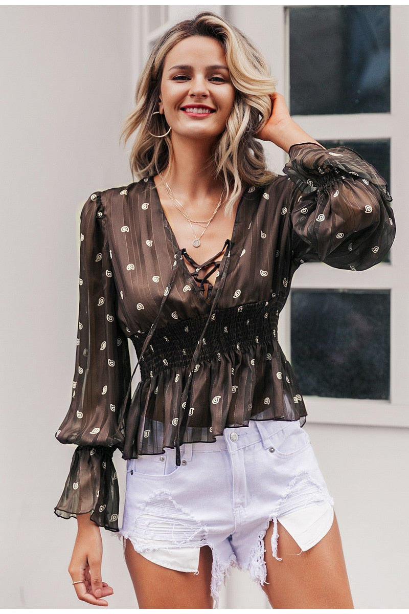 Nostalgia Vintage print women blouse Ethnic lace up lantern sleeve